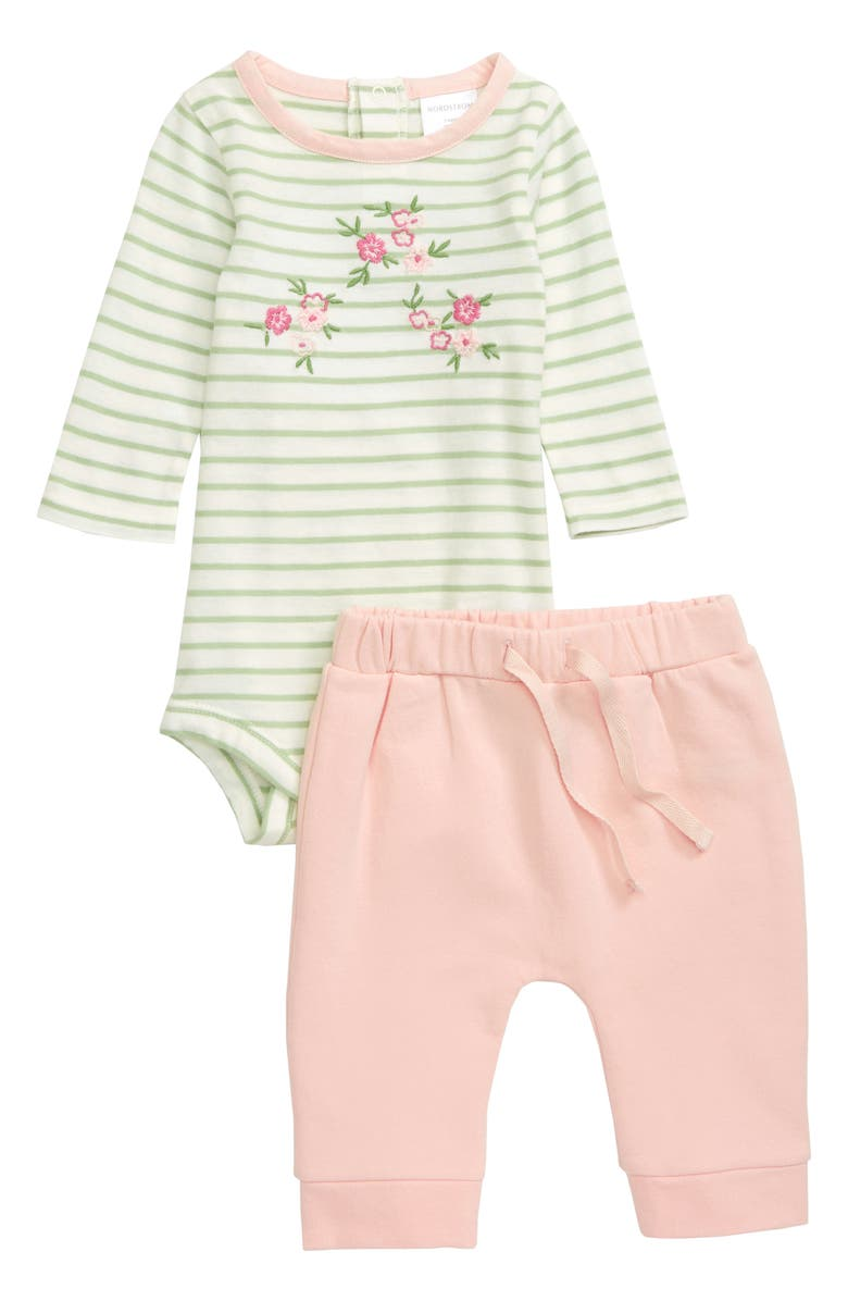 NORDSTROM BABY Embroidered Bodysuit & Sweatpants Set, Main, color, IVORY EGRET FLORAL STRIPE