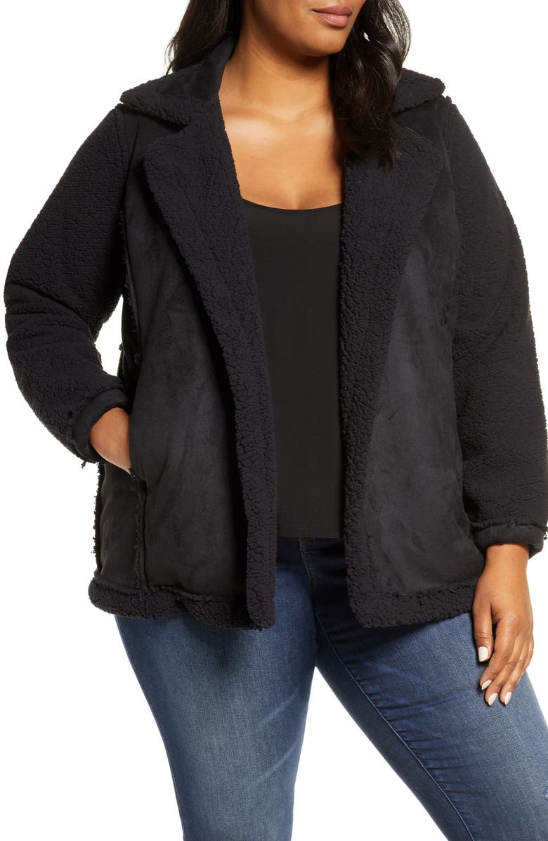 CASLON<SUP>®</SUP> Faux Shearling Jacket, Main, color, BLACK