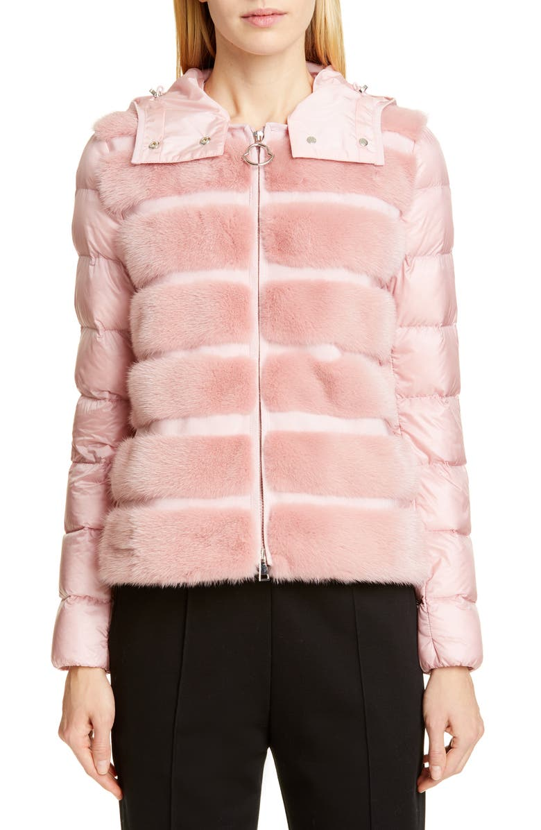 MONCLER Riga Quilted Down Jacket with Genuine Mink Fur Trim, Main, color, 681