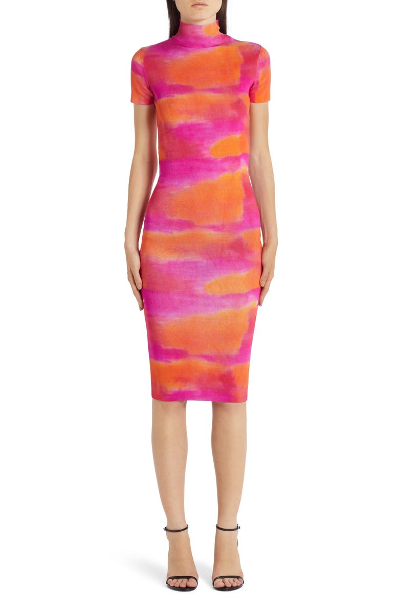 VERSACE Tie Dye Silk Sweater Dress, Main, color, 853