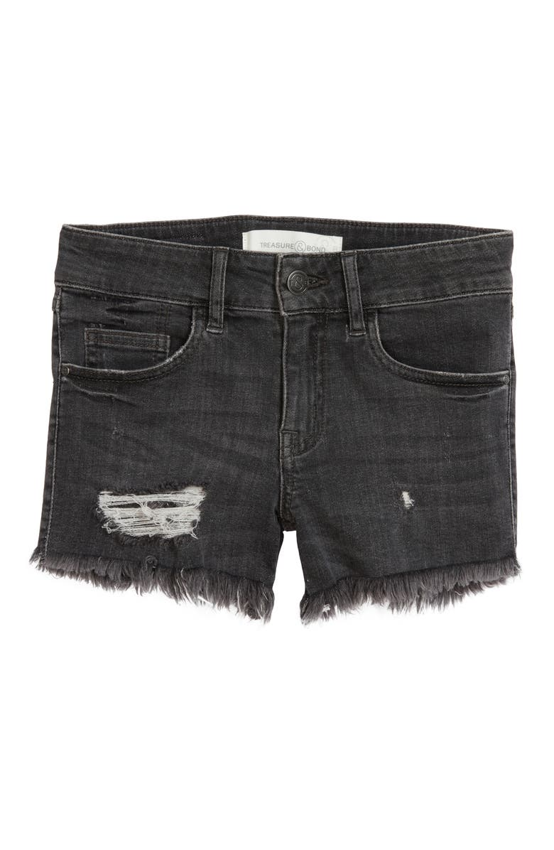 TREASURE & BOND Distressed Cutoff Denim Shorts, Main, color, BLACK VINTAGE WASH