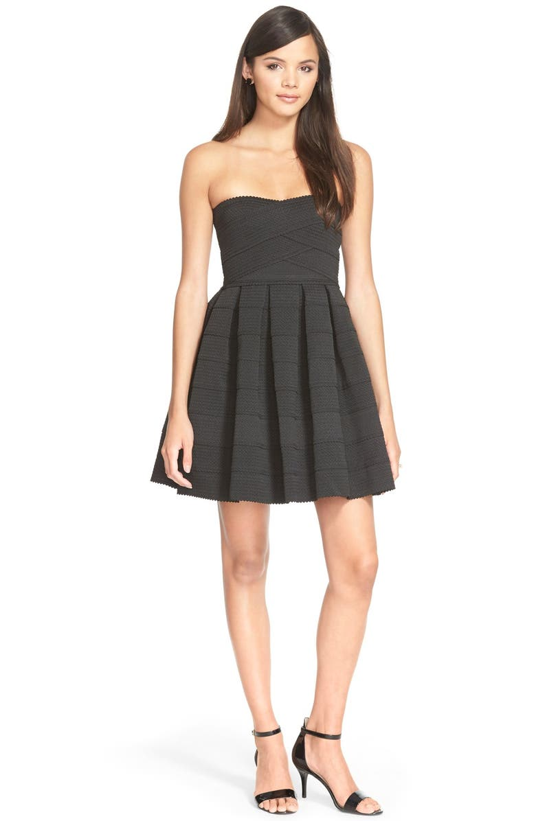 DEE ELLY dee elle Textured Strapless Dress, Main, color, 001