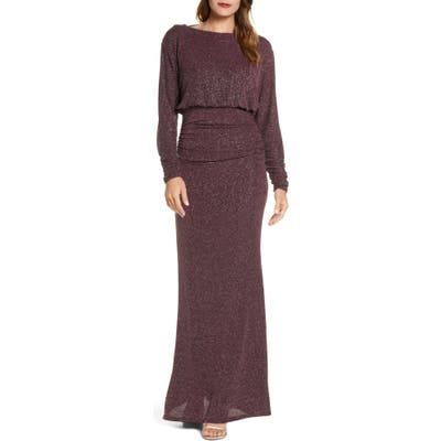 Vince Camuto Cowl Back Metallic Long Sleeve Gown, Purple