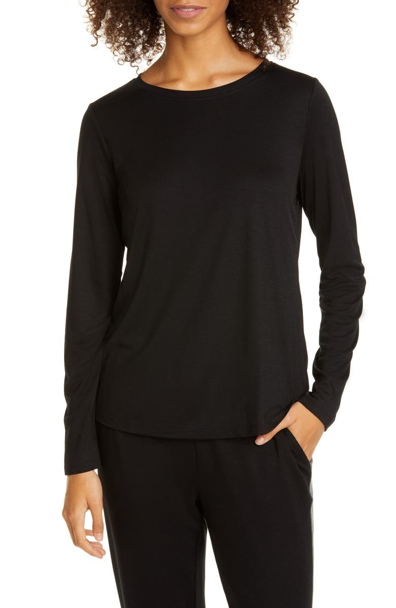 EILEEN FISHER Crewneck Tee, Main, color, BLACK