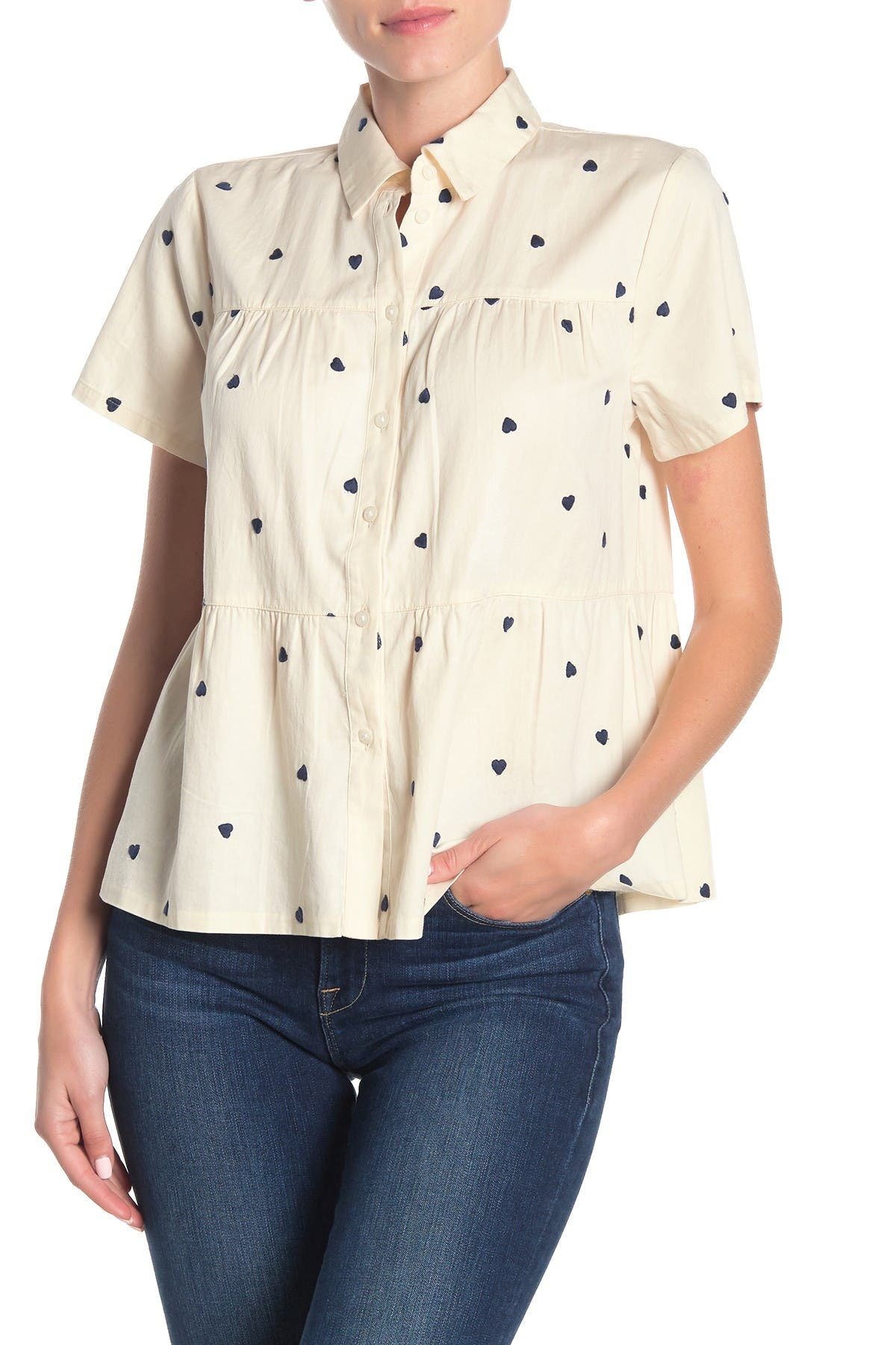 Image of Madewell Heart Embroidered Button Front Peplum Shirt