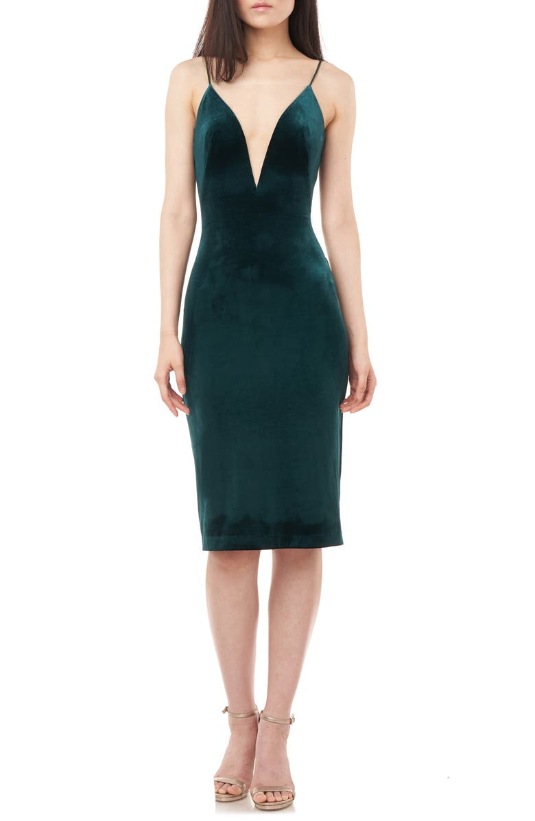 LOVE BY THEIA Plunge V-Neck Stretch Velvet Cocktail Dress, Main, color, HUNTER
