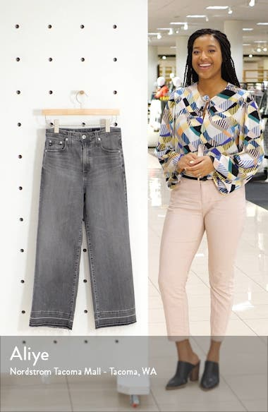 Etta High Waist Raw Released Hem Crop Wide Leg Jeans, sales video thumbnail