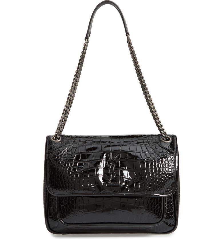 SAINT LAURENT Medium Niki Croc Embossed Lambskin Leather Shoulder Bag, Main, color, NOIR