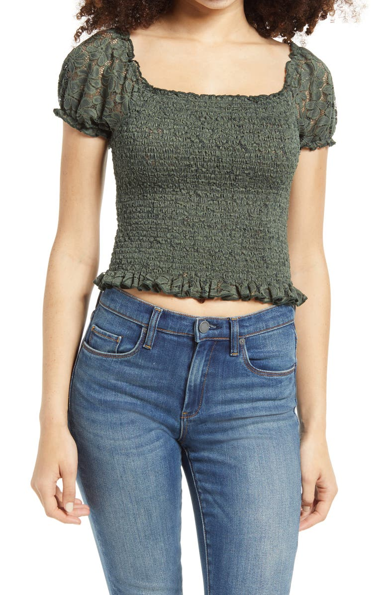 TEN SIXTY SHERMAN Smocked Eyelet Lace Crop Top, Main, color, GREEN THYME