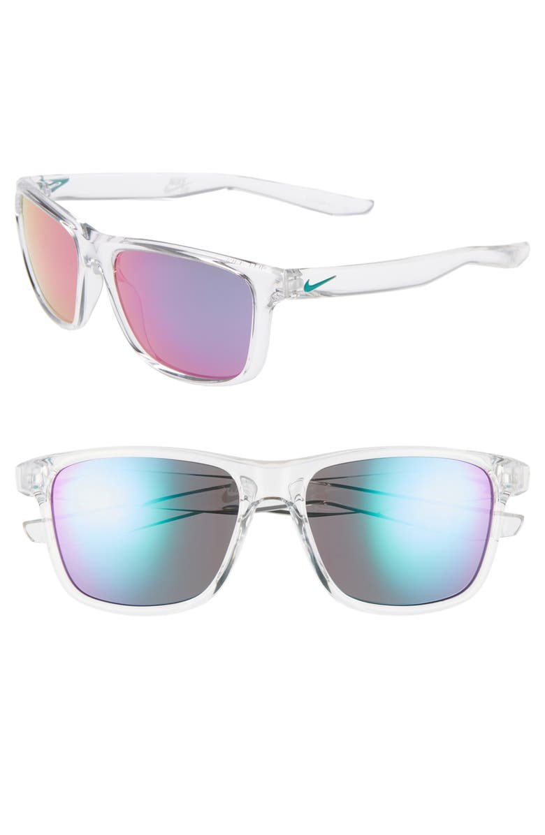 NIKE Flip 53mm Mirrored Sunglasses, Main, color, CRYSTAL CLEAR/ PINK/ BLUE