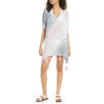 Surf Gypsy Diagonal Tie Dye Cover-Up Caftan, Pink