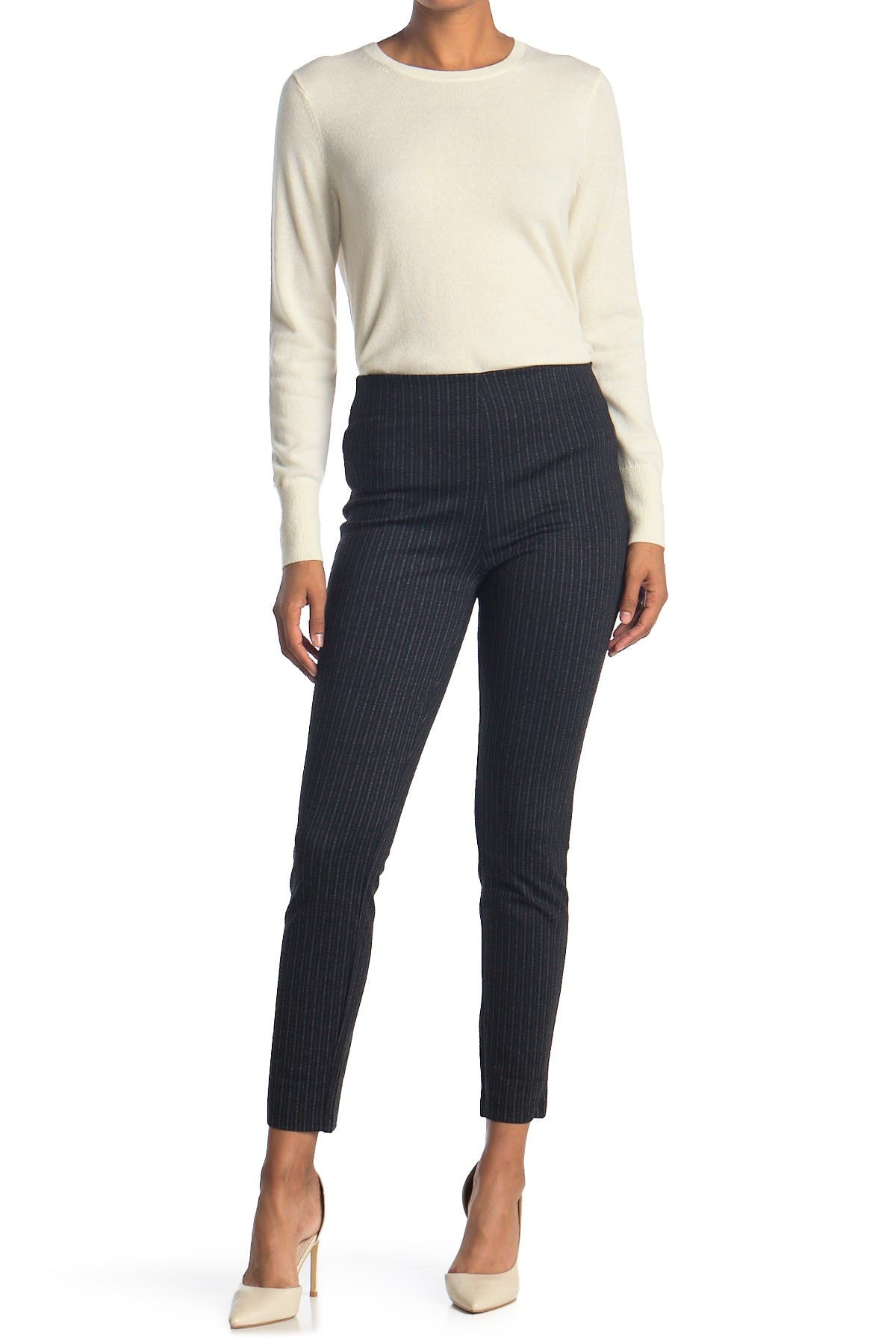 Image of Max Studio Pinstripe High Waisted Ankle Crop Leggings