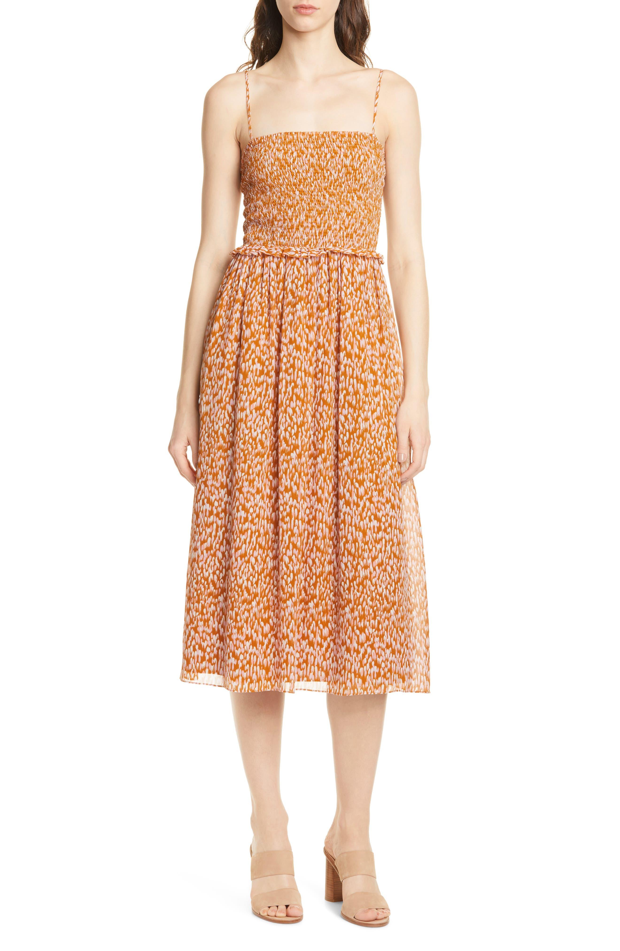 Joie Ambrose Silk Party Dress, Orange