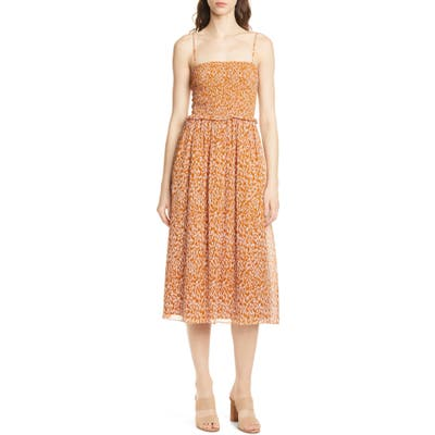 Joie Ambrose Silk Party Dress, Orange
