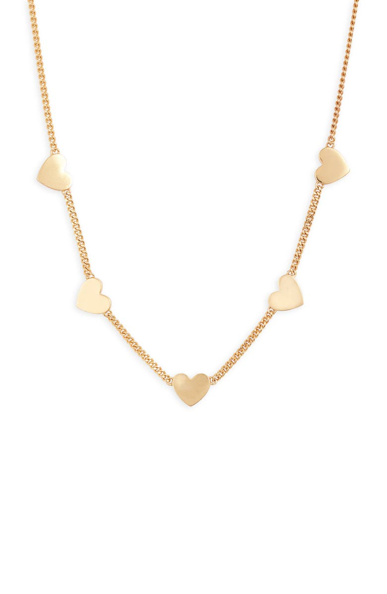 STELLA & DOT Heart Station Necklace, Main, color, SHINY GOLD