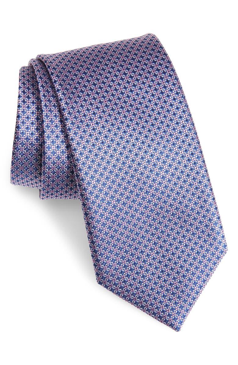 CANALI Geometric Silk Tie, Main, color, NAVY