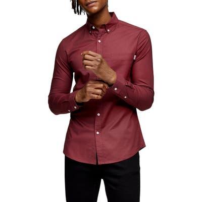 Topman Skinny Fit Button-Down Shirt, Burgundy