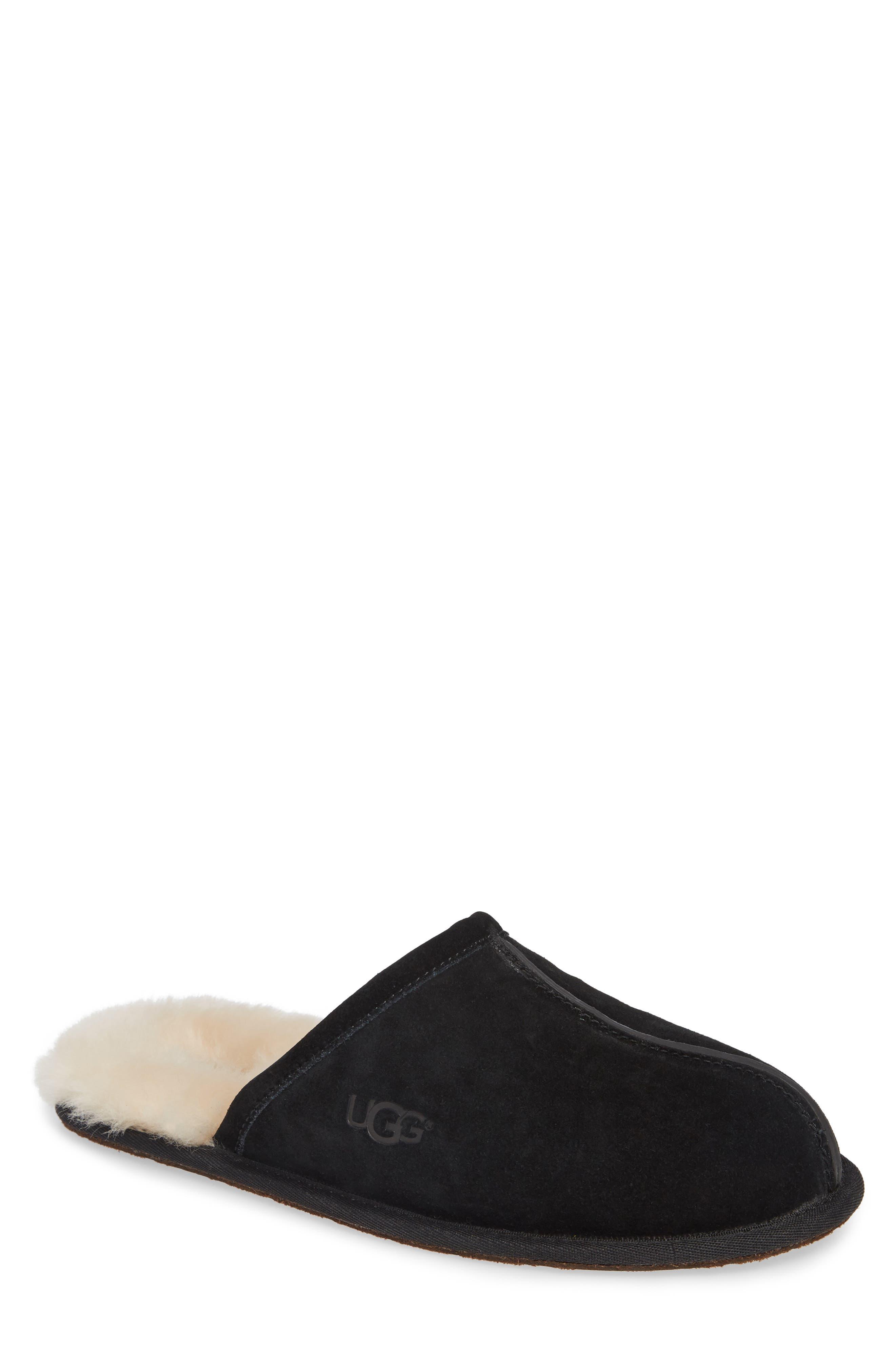 Scuff Slipper, Main, color, BLACK SUEDE