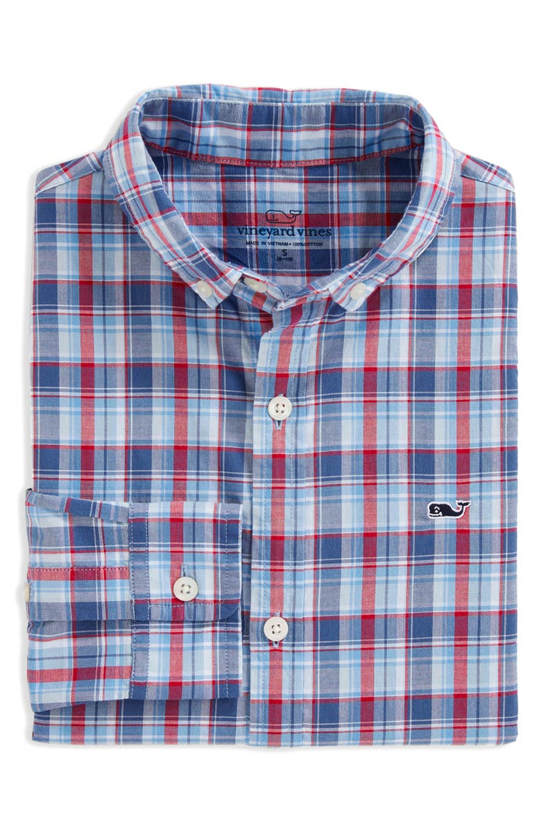 VINEYARD VINES Williams Whale Plaid Button-Down Shirt, Main, color, MOONSHINE