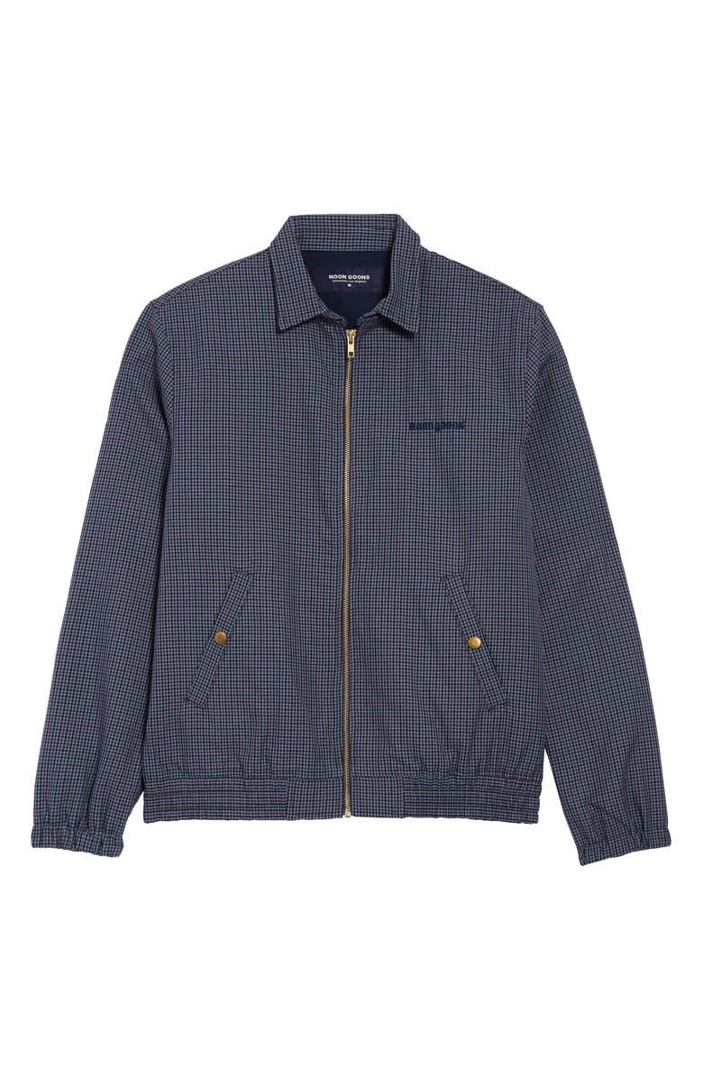 NOON GOONS Crestline Microcheck Zip Jacket, Main, color, CHECKERED NAVY