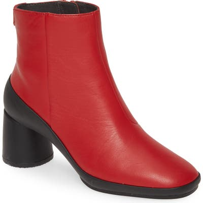 Camper Upright Column Heel Bootie, Red