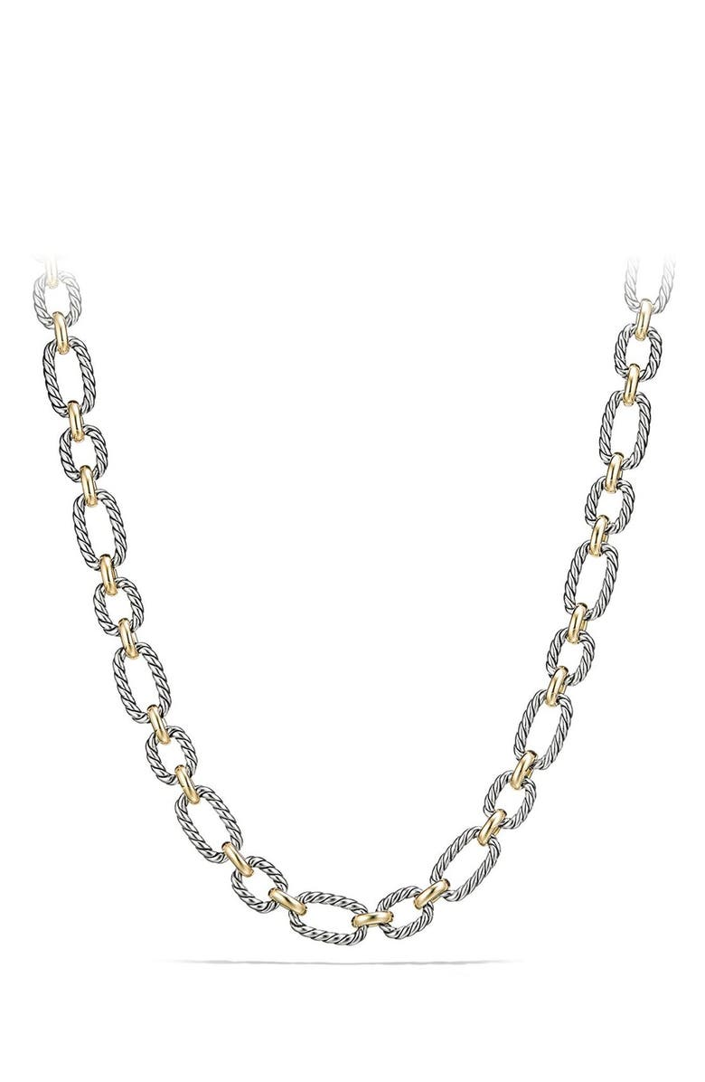DAVID YURMAN Cushion Link Necklace with Blue Sapphires, Main, color, SILVER/ GOLD/ BLUE SAPPHIRE