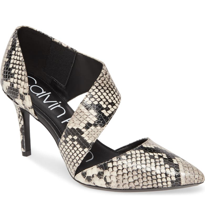 CALVIN KLEIN 'Gella' Pointy Toe Pump, Main, color, NATURAL SNAKE PRINT LEATHER