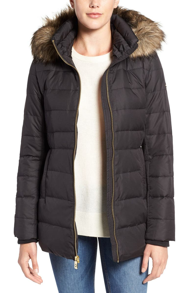 MICHAEL MICHAEL KORS Hooded Down & Feather Fill Coat with Faux Fur Trim, Main, color, 001