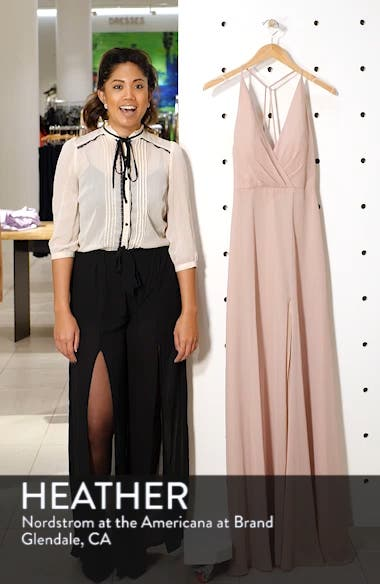 Bryce Surplice V-Neck Chiffon Evening Dress, sales video thumbnail