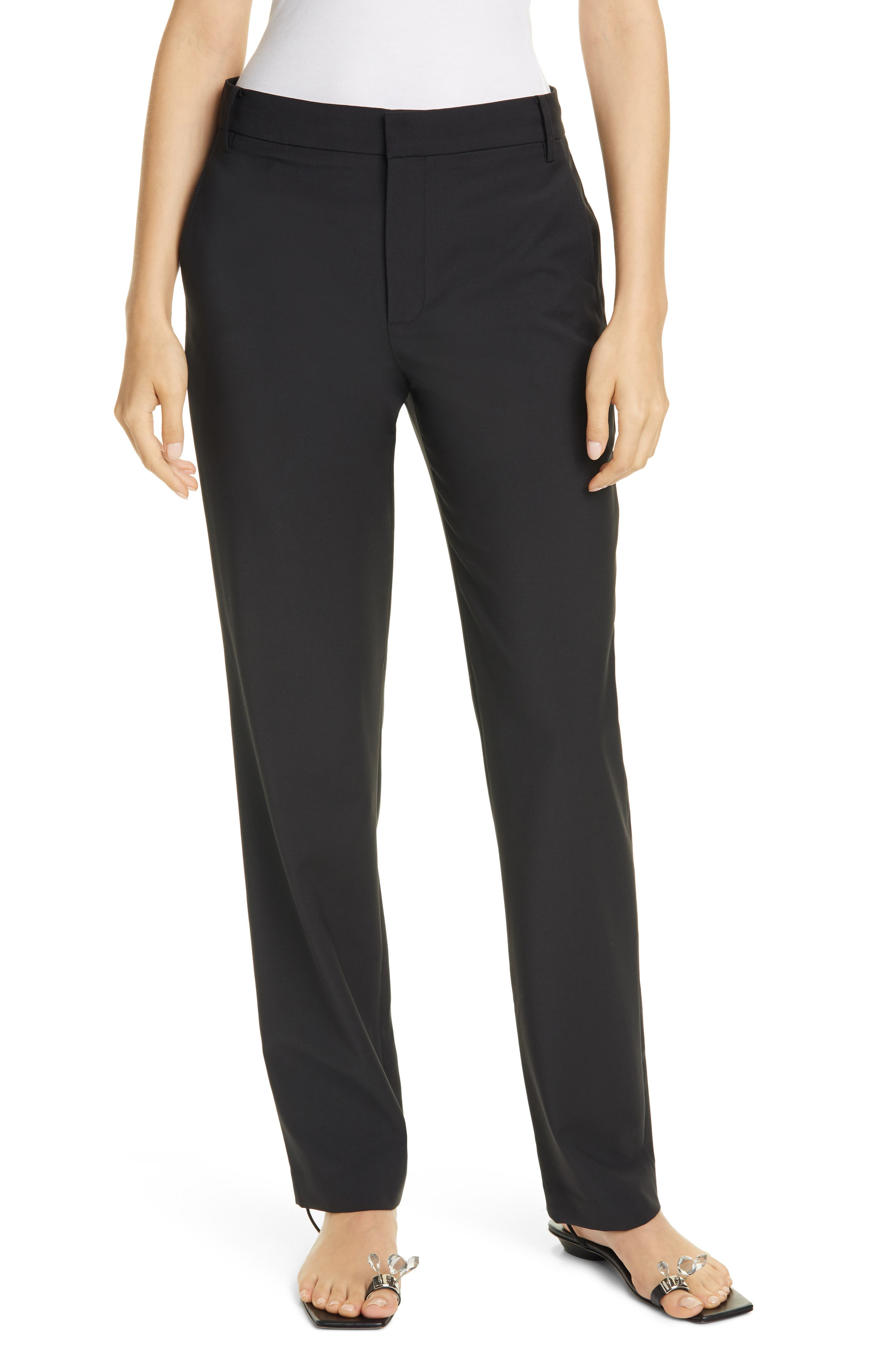 Tibi Slouch High Waist Straight Leg Tropical Suiting Pants