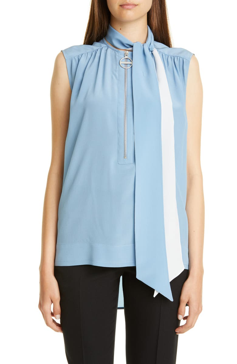 GIVENCHY Sleeveless Silk Blouse with Removable Scarf, Main, color, SKY BLUE
