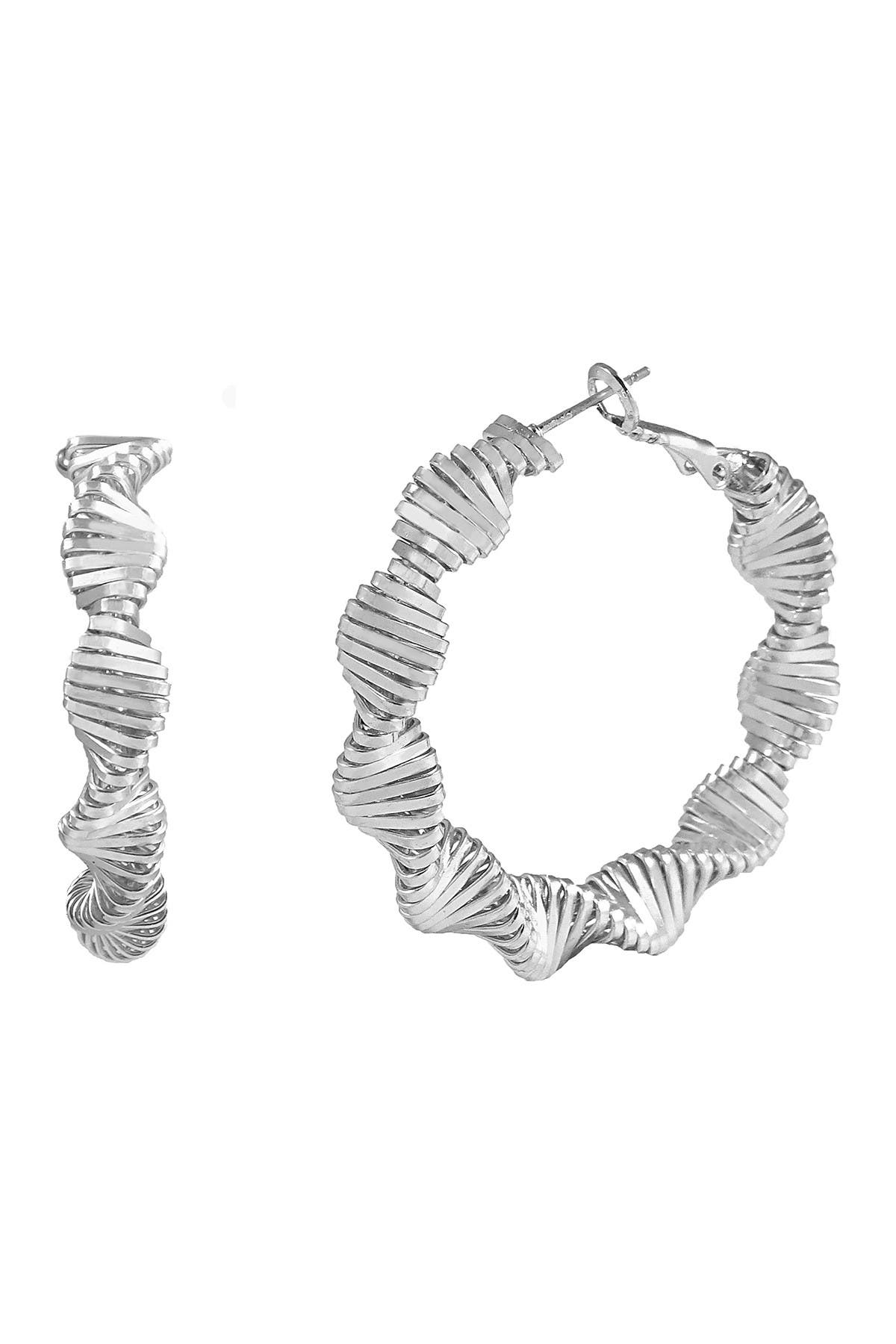 Image of Savvy Cie 14K White Gold Plated Zig Zag Swag Earrings