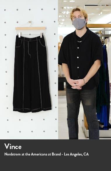 Contrast Stitch High Waist Crop Wide Leg Pants, sales video thumbnail