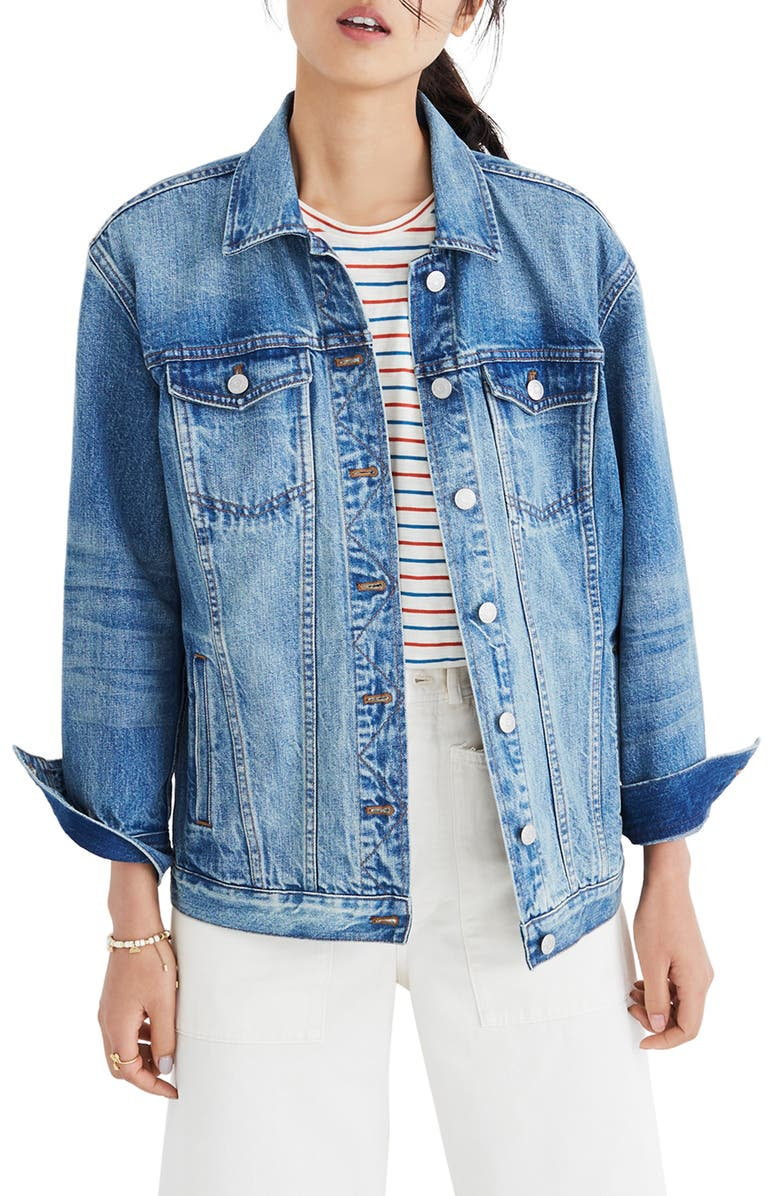 MADEWELL Oversize Denim Jacket, Main, color, 400