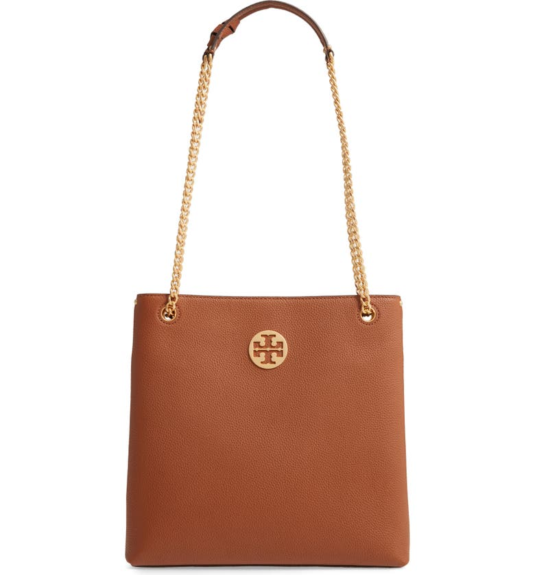 TORY BURCH Everly Leather Swingpack, Main, color, LIGHT UMBER