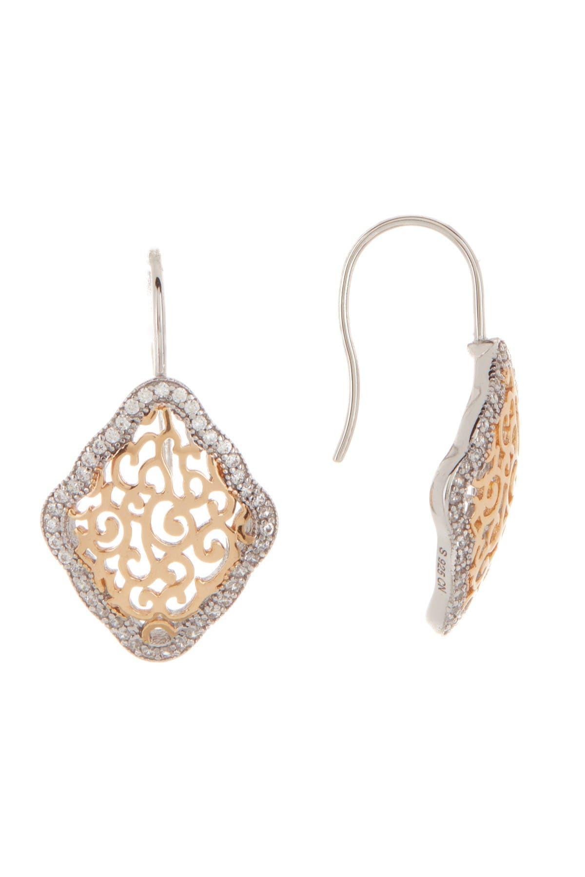 Image of Candela Two-Tone CZ Filigree Kite Dangle Earrings