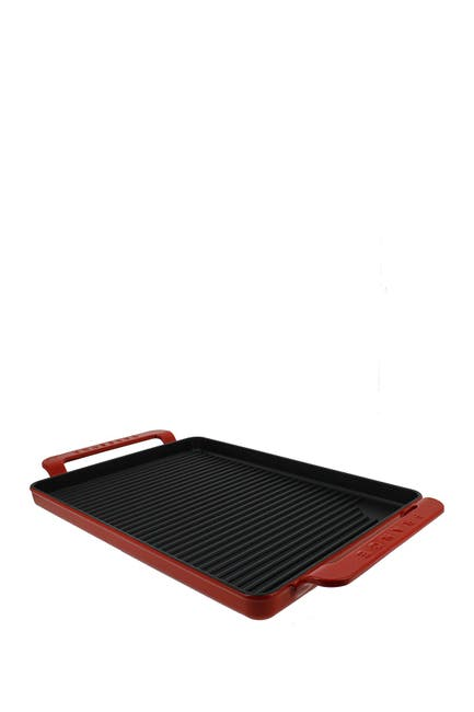 "Image of French Home 14"" Flame Red Rectangular French Enameled Cast Iron Grill Pan"
