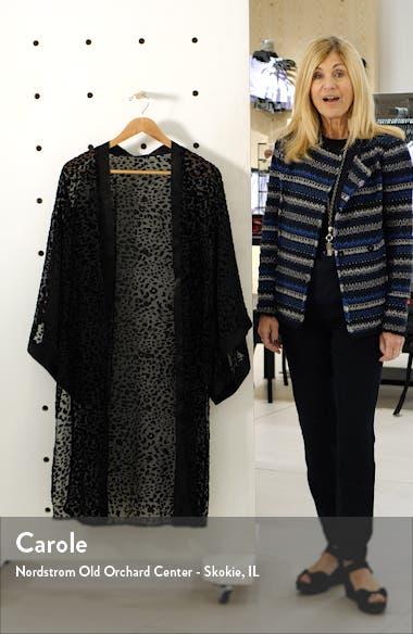 Lorenza Burnout Velvet Leopard Pattern Long Jacket, sales video thumbnail