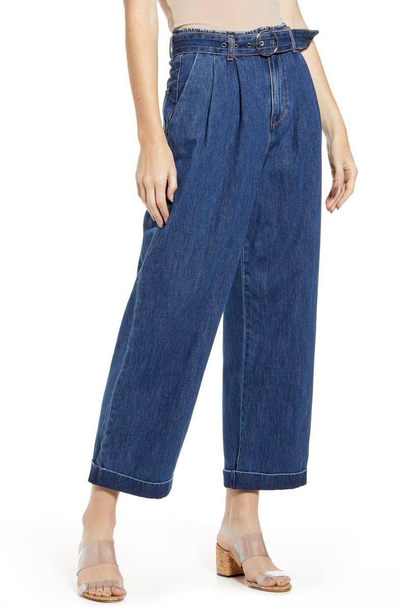 VERO MODA Kristina High Waist Belted Denim Pants, Main, color, MEDIUM BLUE
