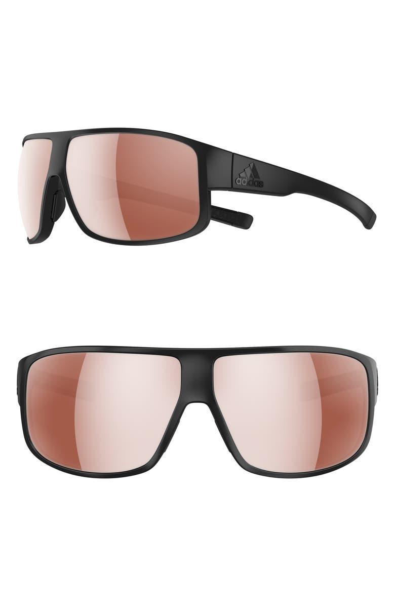 ADIDAS Horizor 67mm Wraparound Sport Sunglasses, Main, color, BLACK MATTE/ ACTIVE SILVER