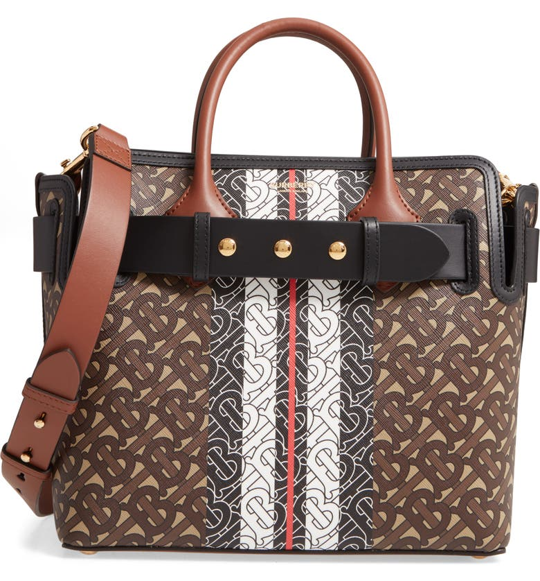 BURBERRY Small E-Canvas Belted Tote, Main, color, BRIDLE BROWN