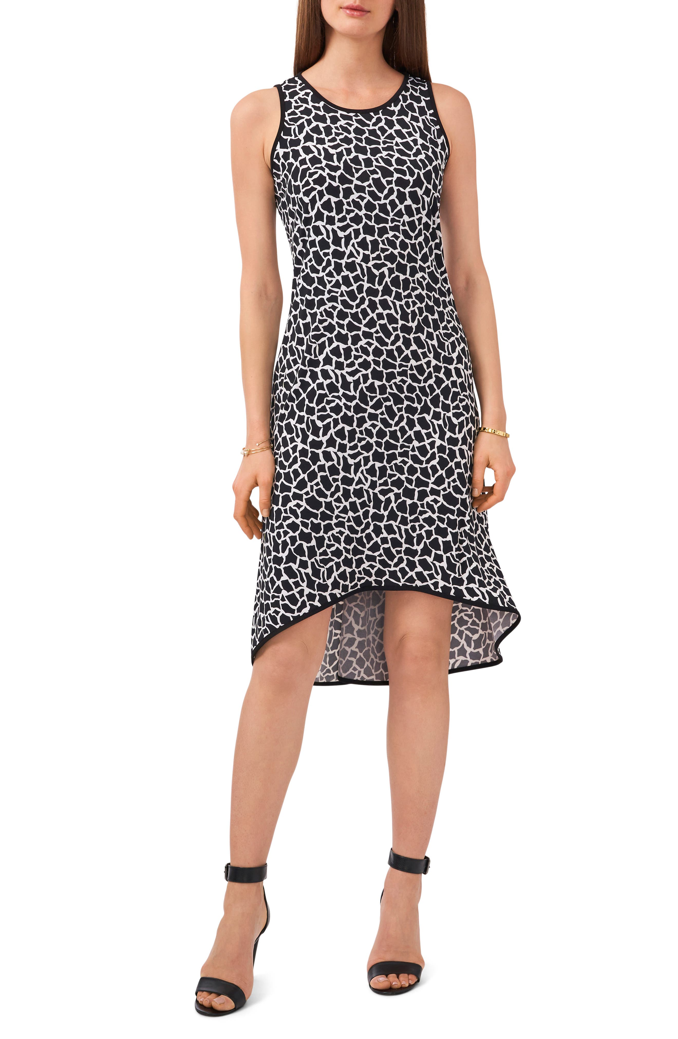 Print High/low Matte Jersey Dress
