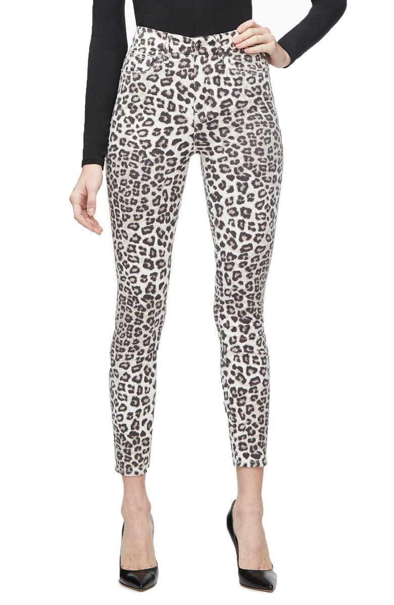 GOOD AMERICAN Good Waist Crop Skinny Jeans, Main, color, SNOW LEOPARD001