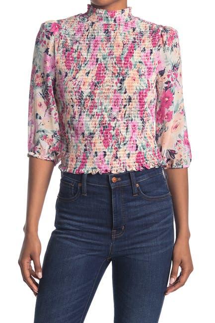Image of Socialite Floral Mock Neck Smocked 3/4 Sleeve Top