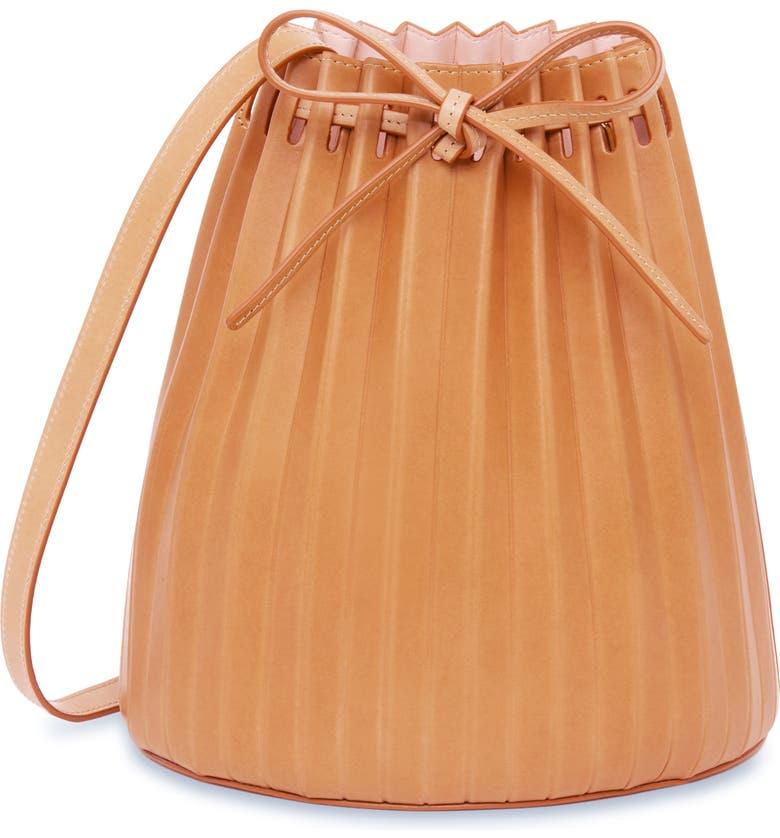 MANSUR GAVRIEL Pleated Leather Bucket Bag, Main, color, CAMELLO/ ROSA