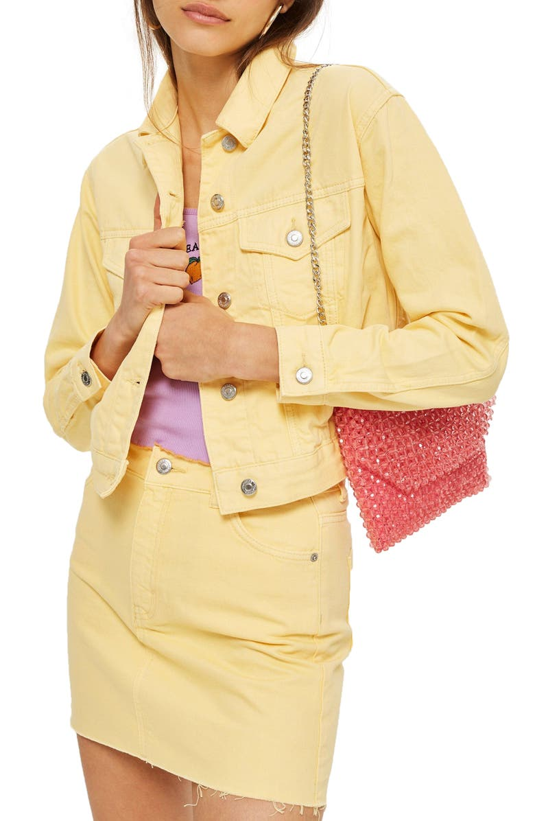 TOPSHOP Yellow Denim Jacket, Main, color, 740