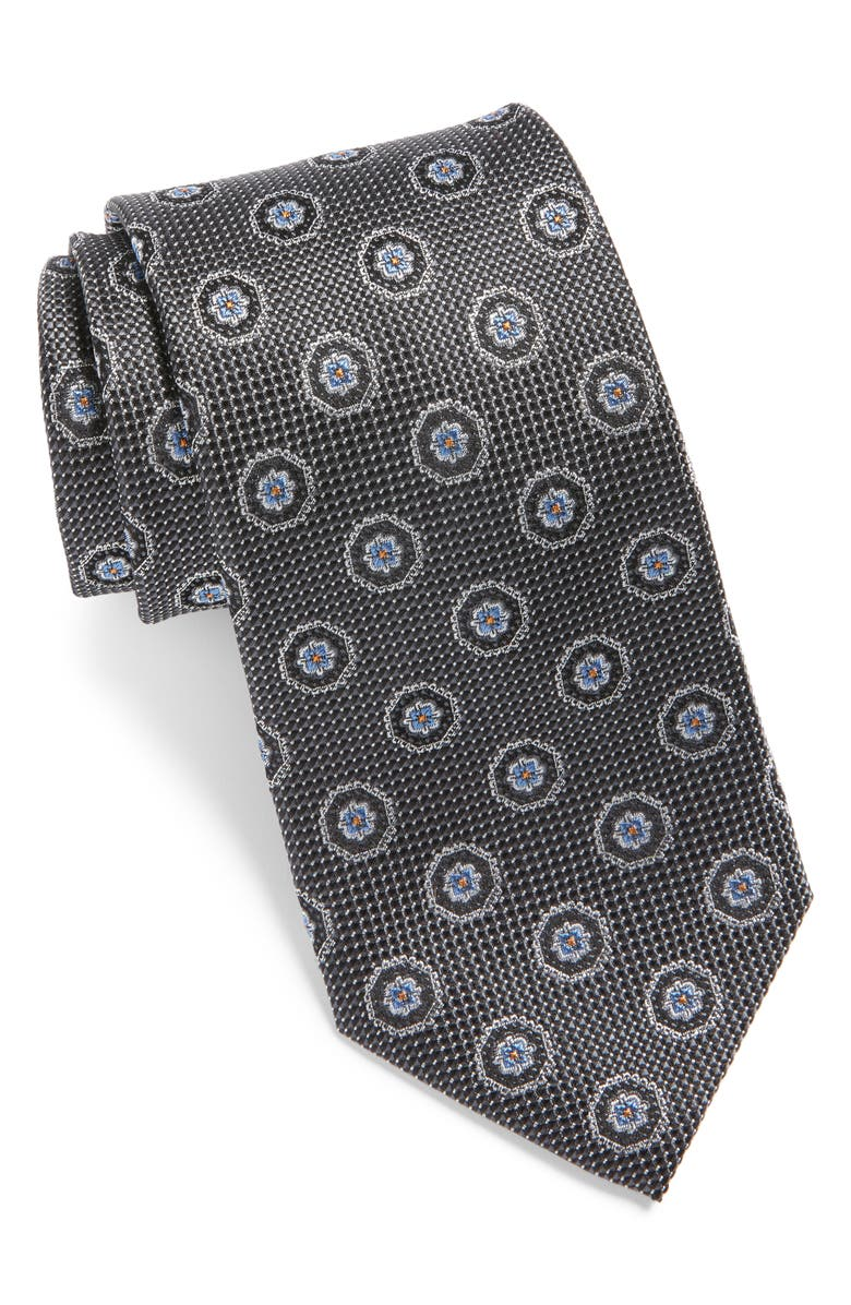 NORDSTROM MEN'S SHOP Medallion Silk Tie, Main, color, BLACK