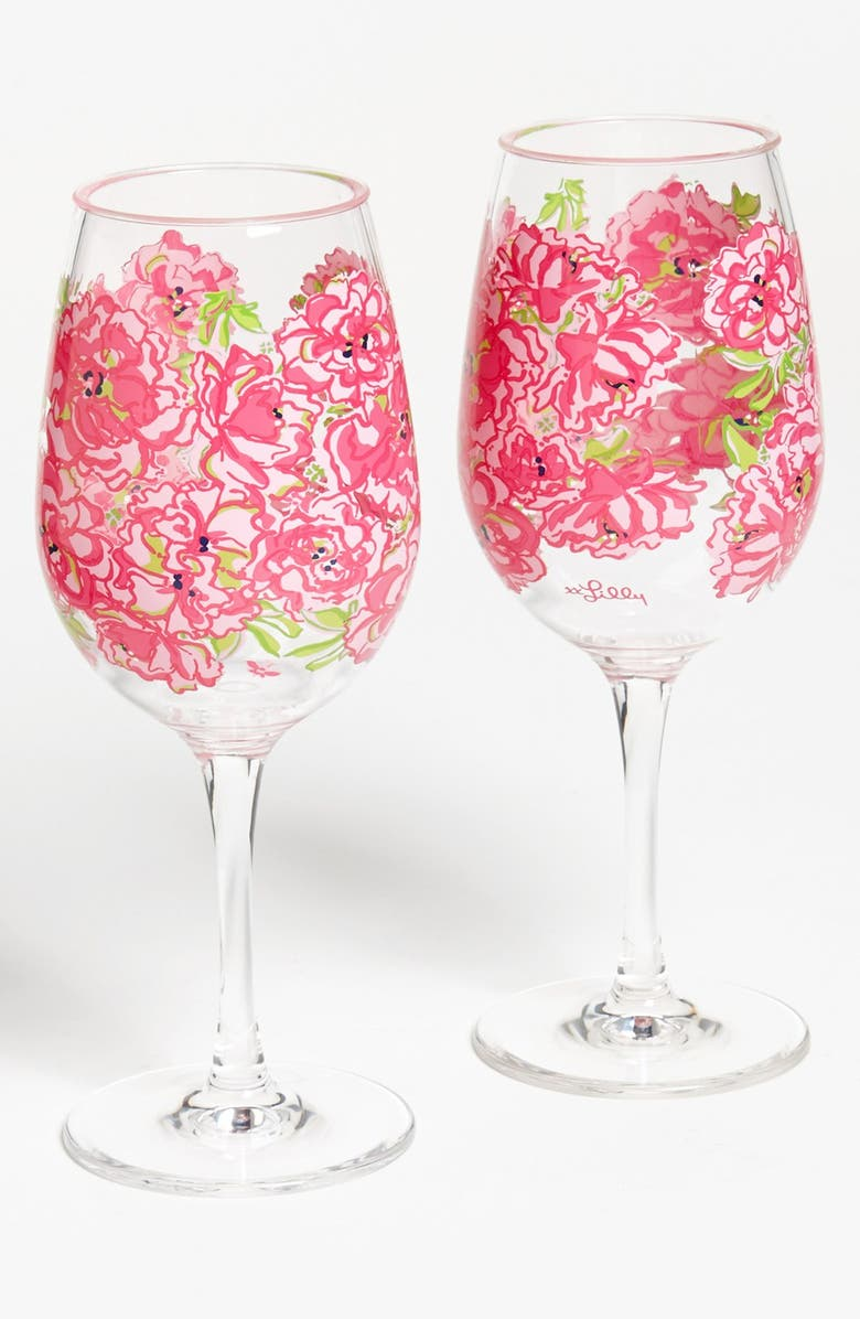LILLY PULITZER<SUP>®</SUP> Floral Print Acrylic Wine Glasses, Main, color, 300