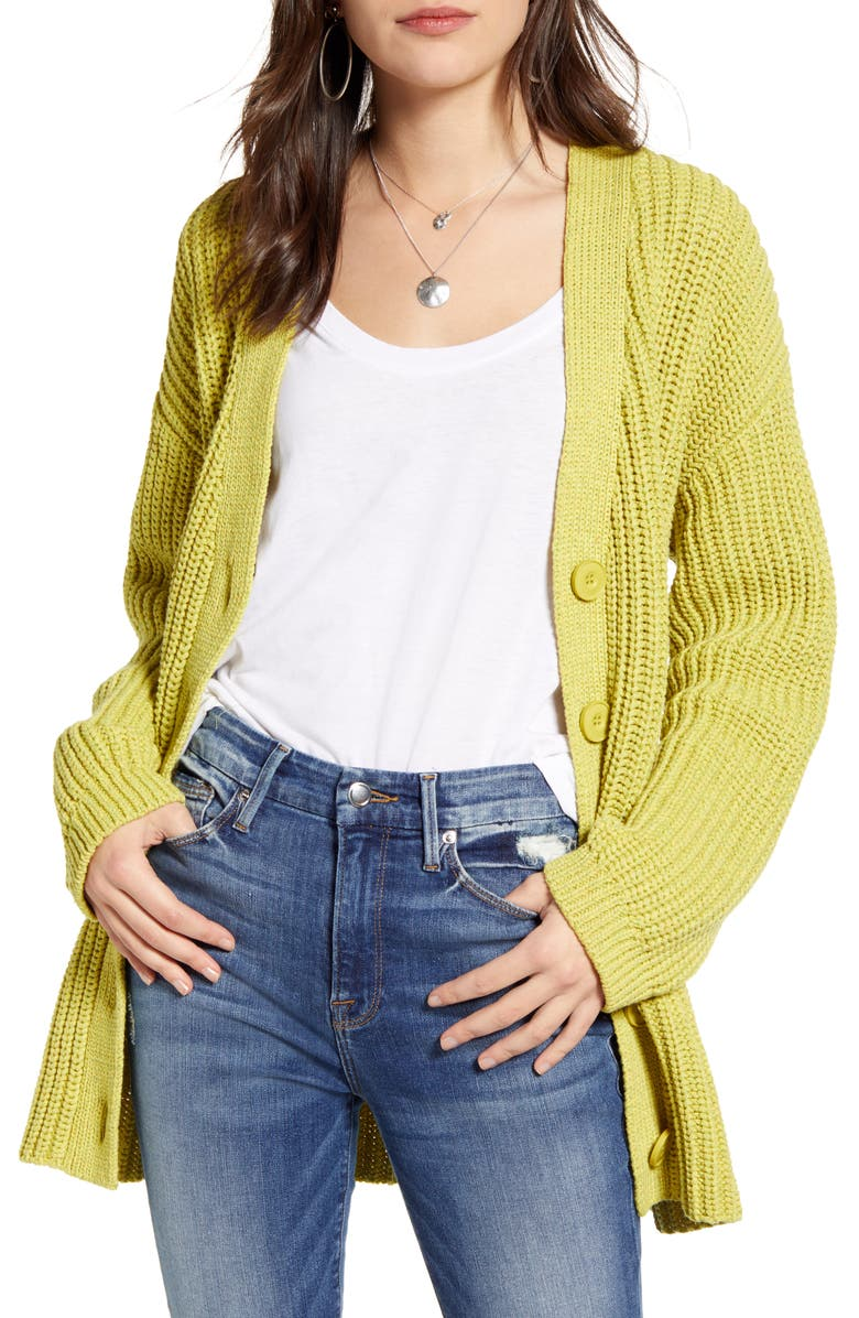 TREASURE & BOND Shaker Stitch Cotton Blend Cardigan, Main, color, HEATHER- OLIVE COMBO