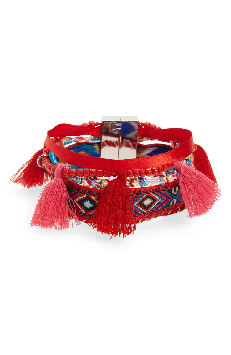 KNOTTY Multistrand Embroidered Friendship Cuff, Main, color, PASSION FRUIT/ RED